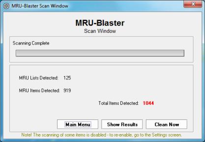 MRU-Blaster si posvítí na MRU (naposledy použité položky)
