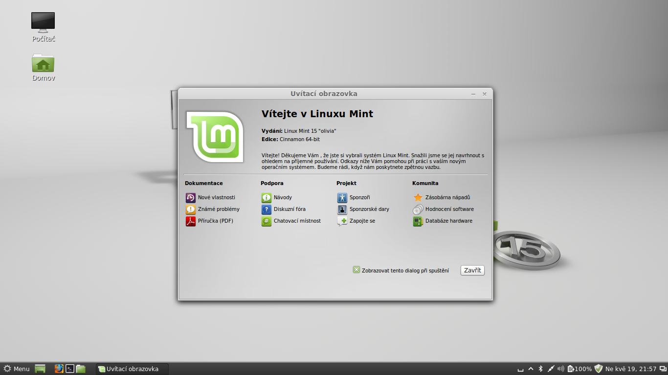 Linux Mint 15 Olivia − první pohled