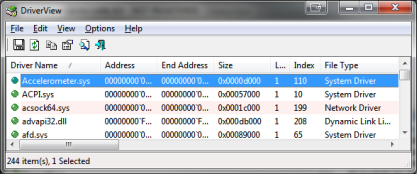 DriverView zobrazí všechny ovladače v systému