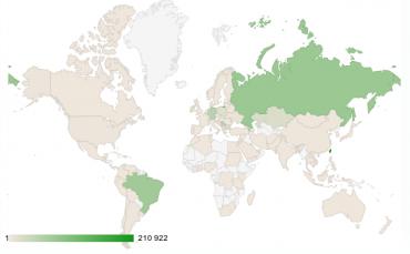 Země, ze kterých přicházelo nejvíce útoků na honeypot CZ.NICu.