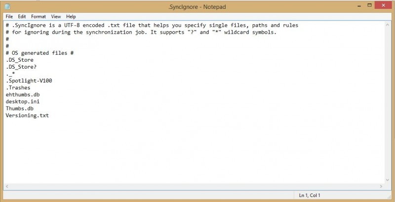 Pokud upravíte obsah tohoto textového souboru, donutíte tím službu BitTorrent Sync, aby některé soubory nesynchronizovala.
