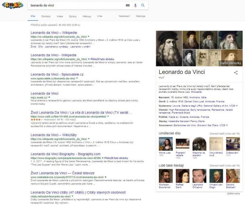 Kromě výsledků vyhledávání dotazu se v případě Leonarda da Vinciho zobrazí kromě odkazů i základní biografické údaje, umělecká díla a odkazy na další umělce