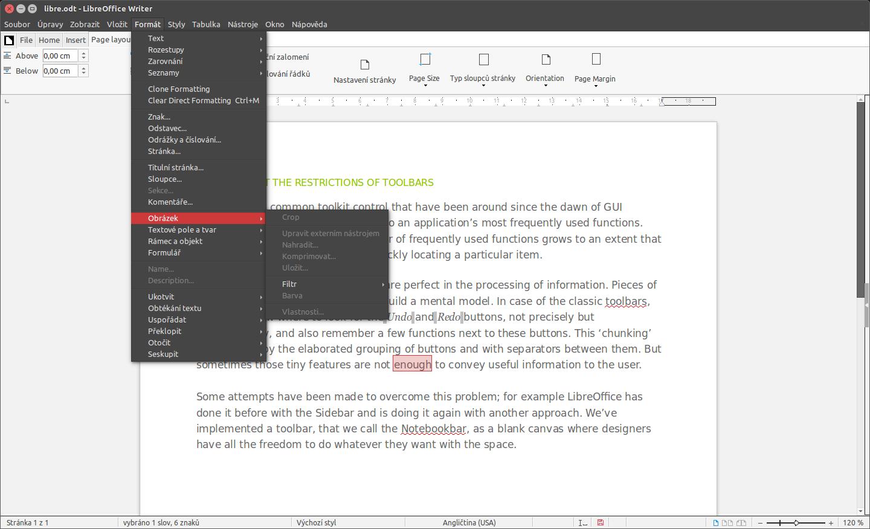 LibreOffice: rozhraní Notebook Bar (tabbed)