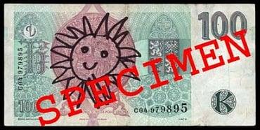 Běžně poškozená bankovka: Pomalovaná bankovka. Fyzická osoba: Může přijetí odmítnout. Právnická osoba a směnárník: nevrací zpět do oběhu a předávají ji ČNB. Úvěrová instituce provádějící pokladní operace: nevrací zpět do oběhu a předávají ji ČNB.