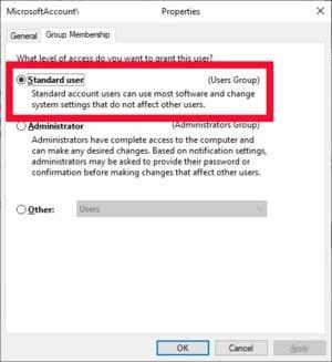 Výběrem tohoto přepínače odeberete uživatelskému účtu v operačním systému Windows 10 oprávnění správce.