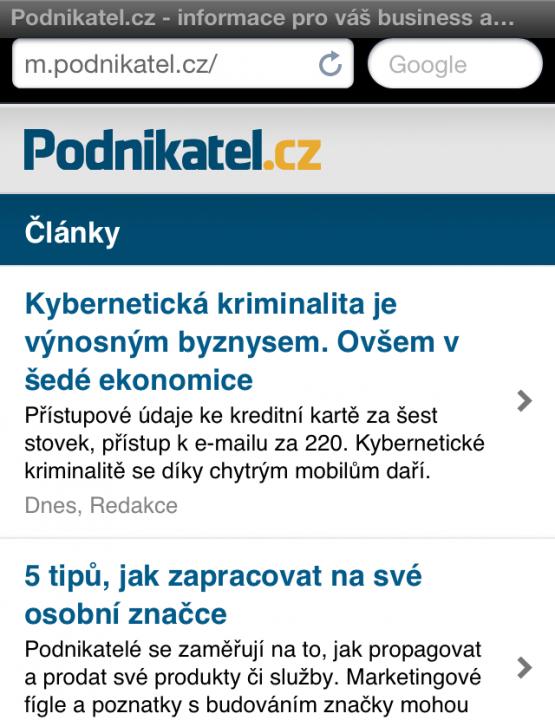 Mobilní verze Podnikatel.cz