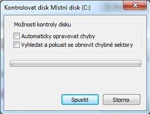 Program Kontrola chyb ve Windows 7 a starších operačních systémech Windows vám umožní zvolit si možnosti kontroly disku