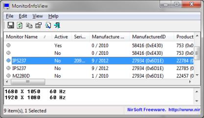 MonitorInfoView zobrazí EDID informace o všech monitorech