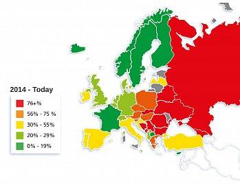 Používání hotovosti v Evropě v roce 2014.