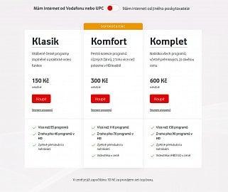 Zvýhodněná tarifní řada Vodafone TV