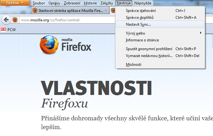 Firefox bookmarks sync
