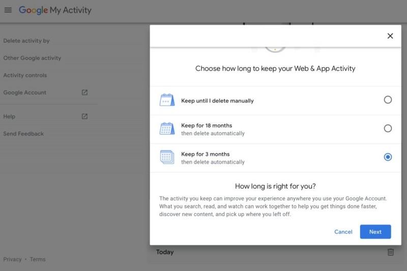 Záznamy o aktivitě na webu můžete nechat odstranit buď po třech, nebo po 18 měsících