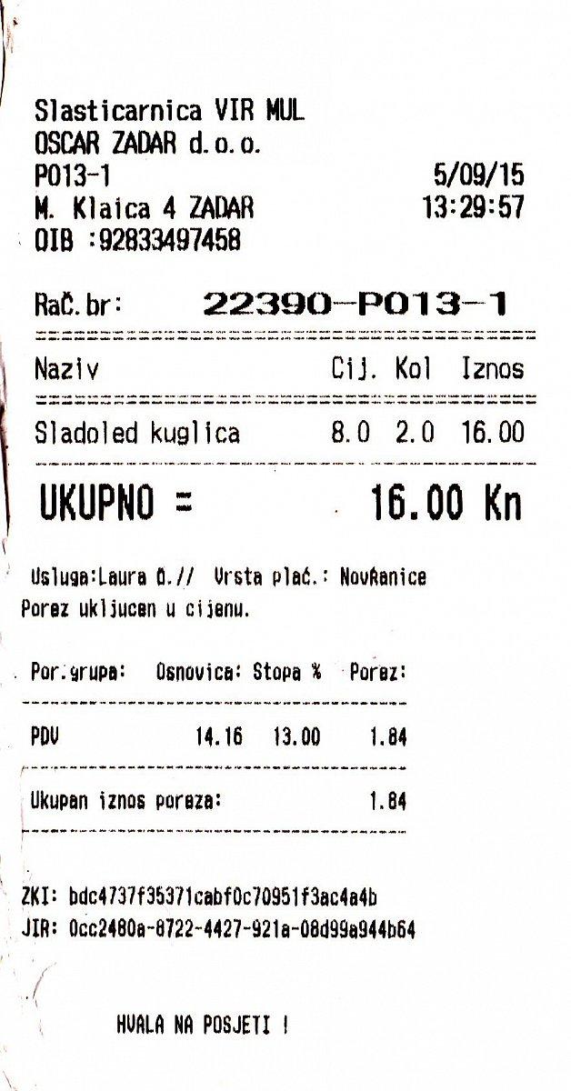 Jak vypadají účtenky v Chorvatsku