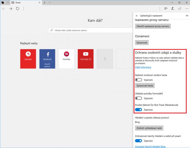 Upřesňující nastavení v internetovém prohlížeči Microsoft Edge
