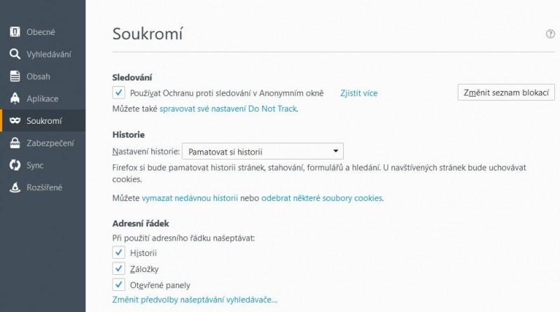Výchozí nastavení Firefoxu na záložce Soukromí