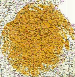 Orientační mapa pokrytí signálem z vysílače Krásný - DVB-T2 Přechodová síť 11