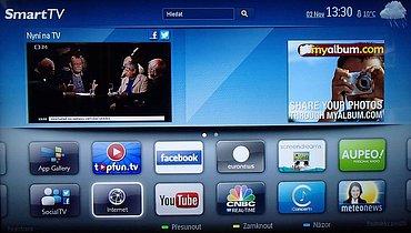 Základní obrazovka do které se dostanete například po stisku tlačítka Smart TV.