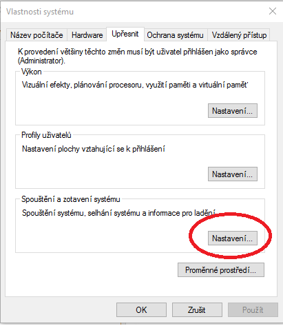 Dialogové okno pro upřesnění konfigurace Windows