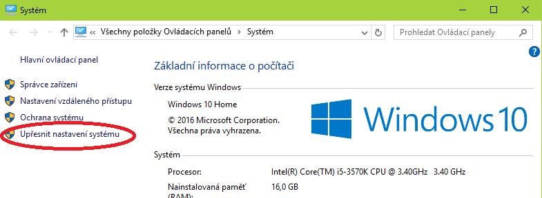 Upřesnění možností konfigurace Windows 10