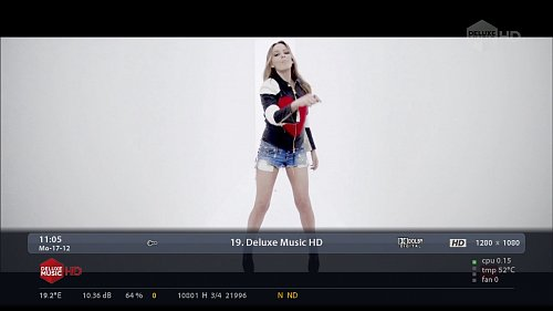 Ukázka z vysílání HD verze kanálu Deluxe Music