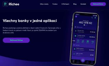 Homepage projektu Richee od Banky CREDITAS. (6. 7. 2020)