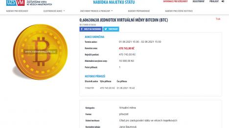 Stát podruhé vydražil Bitcoin.