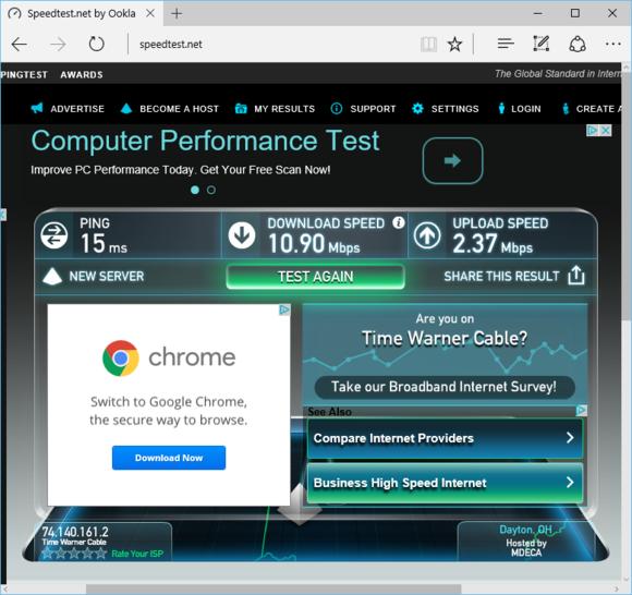 Výsledek testování našeho domácího připojení na portálu Speedtest.net