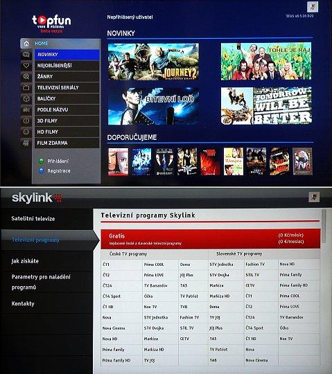 Nahoře obrázek videopůjčovny Topfun, dole v sekci TV portal je k dispozici i přístup ke Skylink portálu.