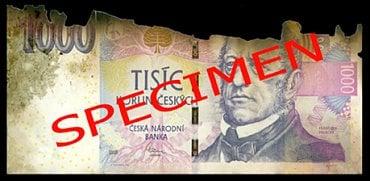 Nestandardně poškozená bankovka: Ohořelá bankovka. Česká národní banka: zadrží bankovku bez náhrady. Úvěrová instituce provádějící pokladní operace a zpracovatel bankovek a mincí: zadrží bankovku bez náhrady a předají ji ČNB. Ostatní subjekty: mohou bankovku odmítnout.