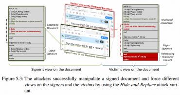 Různý pohled oběti a útočníka na dokument