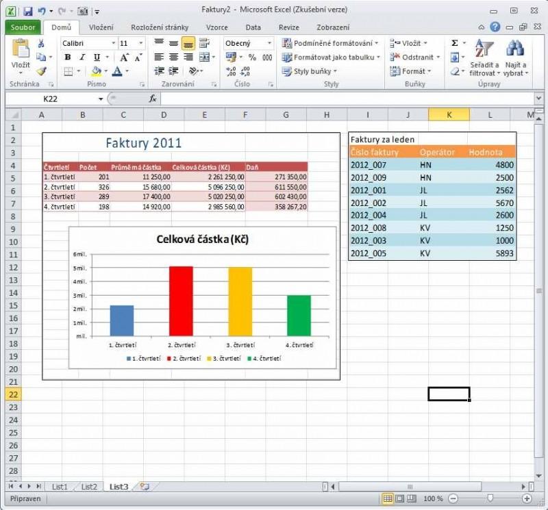 Excel 2010 - Fotoaparát
