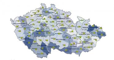 Mapa střetů vozidel se zvěří podle okresů.