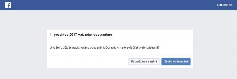 Pokud se během 14 dní po potvrzení o odstranění účtu na Facebooku znovu přihlásíte, uvidíte toto dialogové okno, v němž můžete proces odstraňování účtu zrušit.