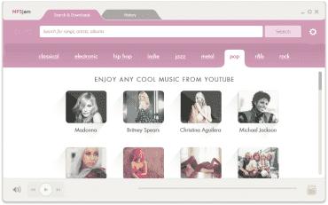 Přehled známých umělců v hlavním okně aplikace MP3jam