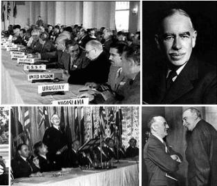 Konference a jednání o novém měnovém systému v americkém Bretton Woods se v roce 1944 účastnil i Sovětský svaz. Ten nakonec měnové dohody neratifikoval a v bloku socialistických států uplatnil systém zúčtovávání v převoditelných rublech. Keynes (vpravo) se konference zúčastnil za Velkou Británii.