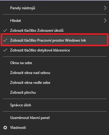 Funkci Pracovní prostor Windows Ink zapnete pomocí pravého tlačítka myši