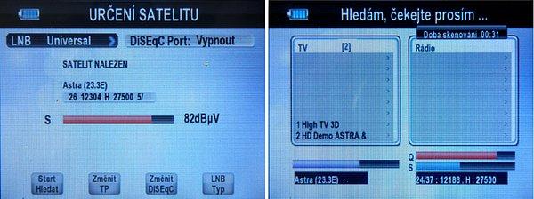 Automatické vyhledání neznámého satelitu a vyhledávání programů. Přístroj umožňuje editaci satelitů, frekvencí a další přidávání dat a jejich přesun.