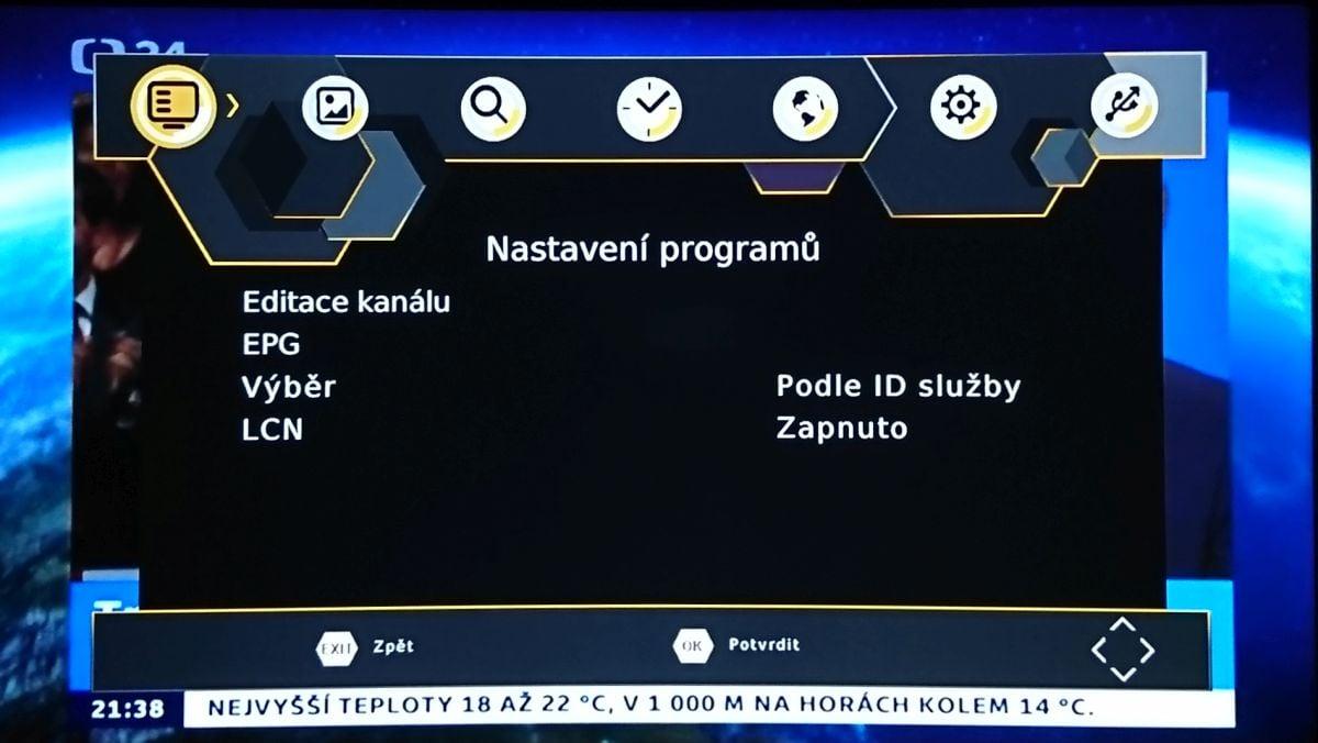 Maxxo T2 H.265 - menu nastavení