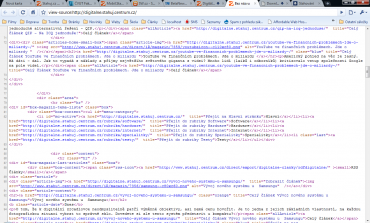 Zobrazení zdrojového kódu stránky se zvýrazněním syntaxe