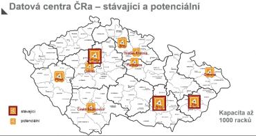Současná a potenciální datová centra Českých Radiokomunikací.