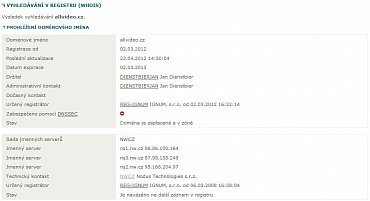 Výpis z registru (WHOIS) k 24.7.2012.
