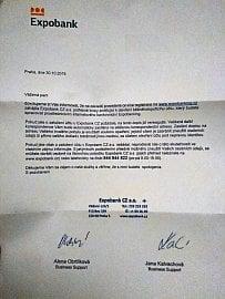 Kromě e-mailu a telefonního hovoru nám od banky ještě přišel dopis. Banka jej zaslala obyčejně na adresu trvalého bydliště.