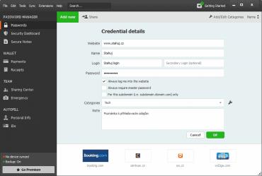<p>Přidání nových přihlašovacích údajůPřidání nových přihlašovacích údajů</p>