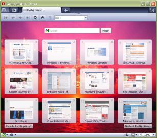 <p>Takto vypadá Opera 10 s otevřeným Rychlým přístupem pro snadnější procházení webů.</p>