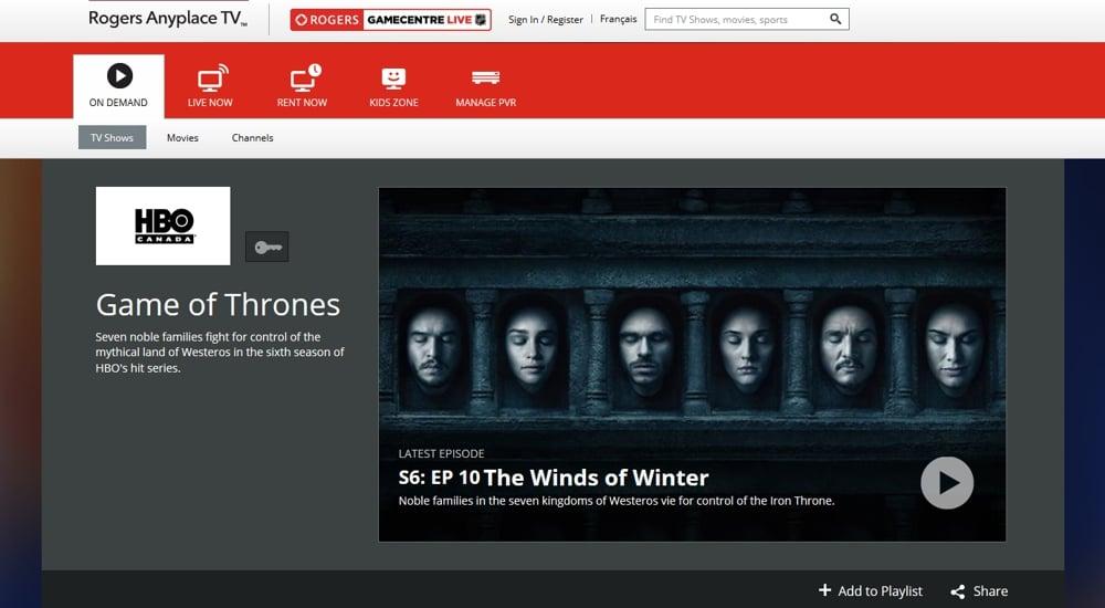 Internetová verze Rogers Cable – Rogers Anyplace TV™
