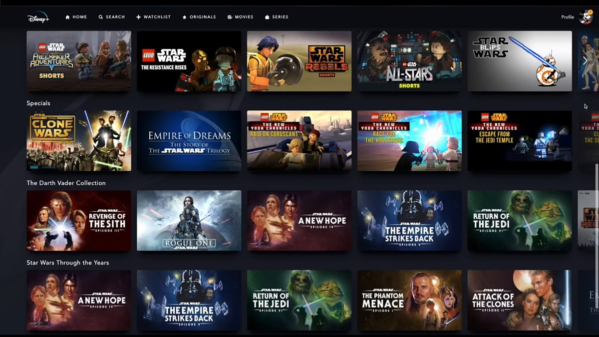 Star Wars v Disney+