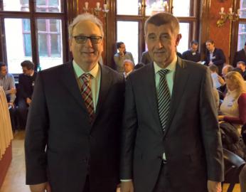 Andrej Babiš (vlevo) a Jurgen Martens z ELF na konferenci Digitální Česko v Schebkově paláci