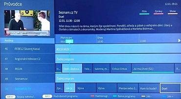 Stanice Seznam.cz TV má programovou nabídku dělanou opravdu důkladně. Nad ní vidíte HbbTV kanál Seznamu.