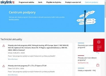 Skylink, nové webové stránky - Centrum podpory.