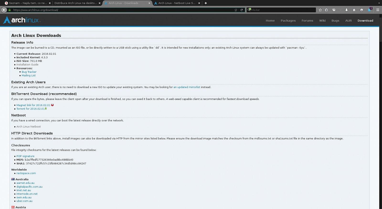 Arch Linux: soubory ke stažení, oficiální repozitáře
